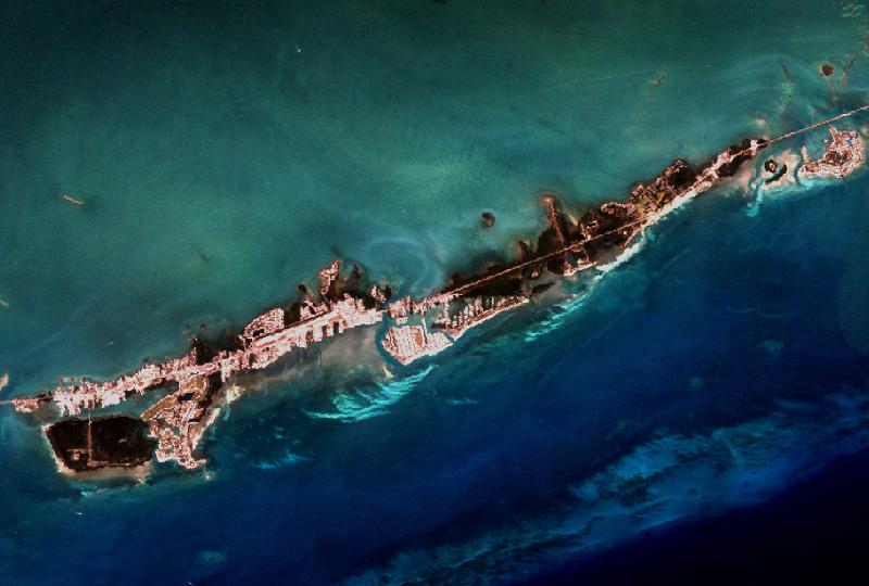 Obraz satelitarny przedstawiający rafę koralową.