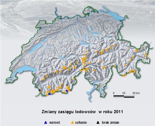 Mapa szwajcarskich lodowców