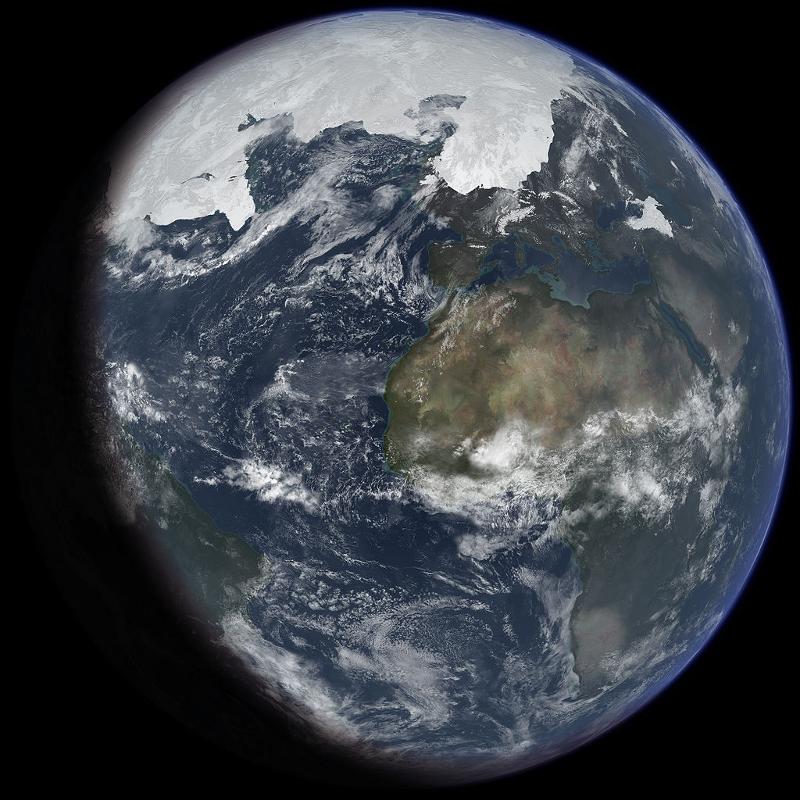 Rysunek przedstawia kulę Ziemską w widoczną dużą czapą lodową na północy.