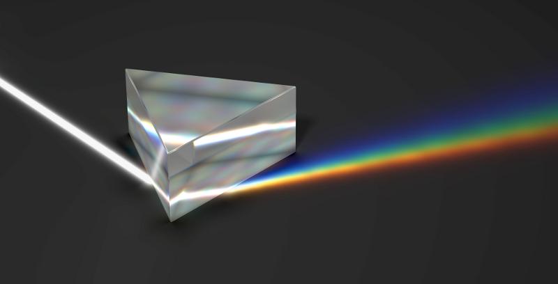 Obrazek przestawia pryzmat - kawałek szkła o kształcie prostopadłościanu z trójkątną podstawą, wraz z wiązką padającego nań białęgo światła rozdzielanego po drugiej stronie pryzmatu na wiązkę o kolorach tęczy.