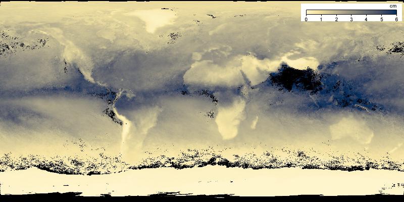 Mapa świata z zaznaczonymi kolorowo zawartościami pary wodnej w atsmoferze.