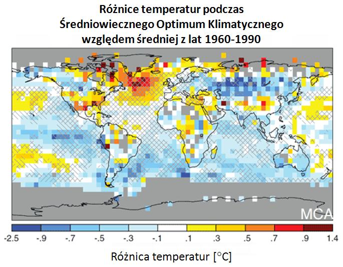 Różnice temperatur średniowiecze-czasy obecne
