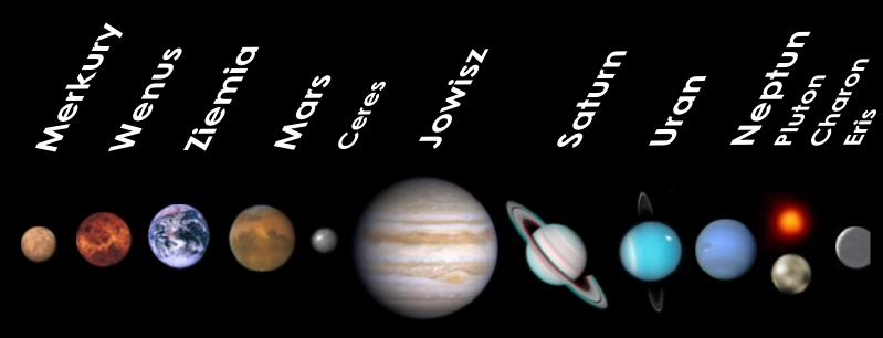 Obrazek przedstawia ciąg planet Układu Słonecznego