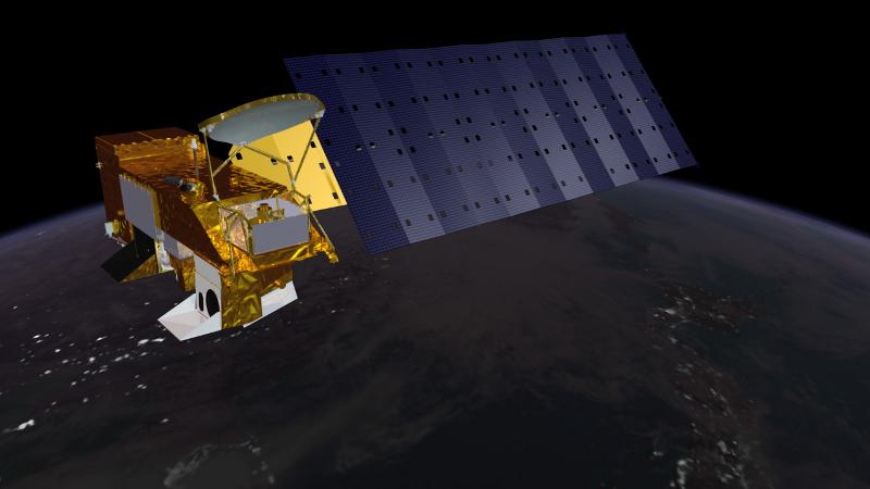 Obraz przedstawia sztucznego satelitę na orbicie Ziemi.