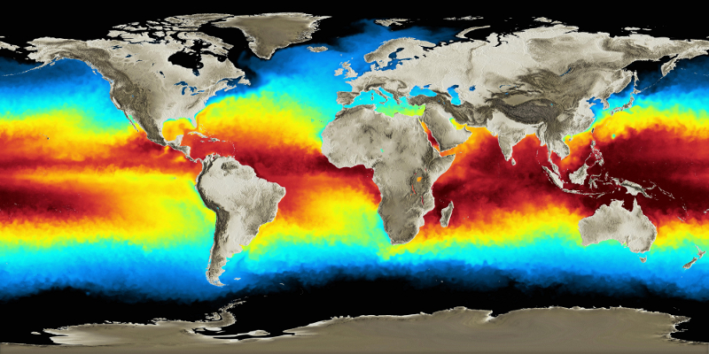 Temperatury powierzchniowe mórz