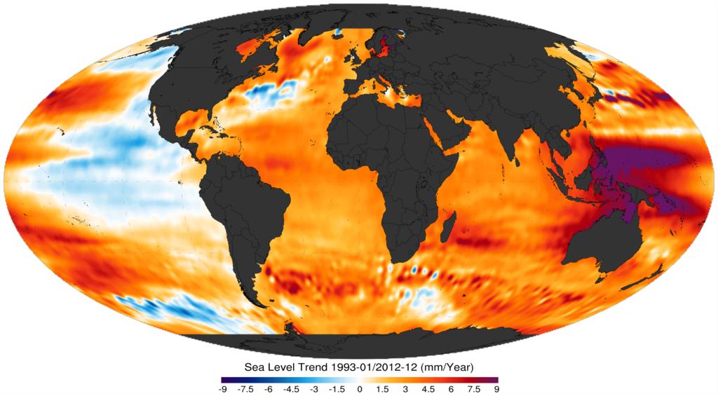 Mapa trendu zmian poziomu wody