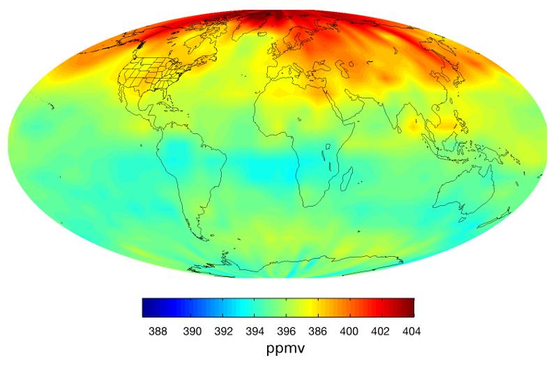 Średnie koncentracje dwutlenku węgla w atmosferze w kwietniu 2013