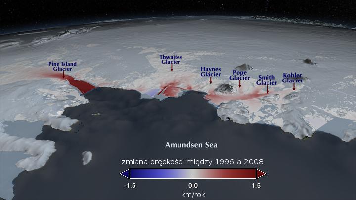 Zmiana tempa płynięcia lodowców kończących się w Morzu Amundsena