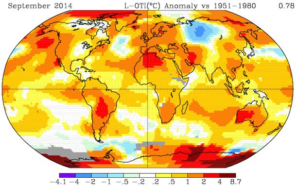 Wrześniowe odchylenie temperatury powierzchni Ziemi 2014
