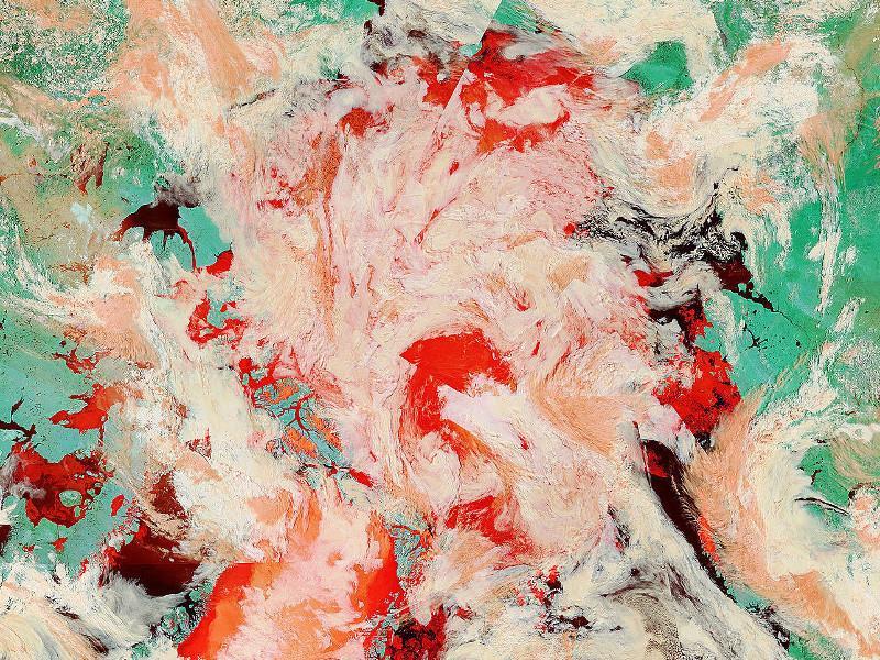 Obraz satelitarny okolic bieguna północnego w sztucznych barwach