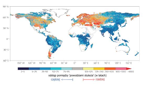 """Mapa przedstawiająca odstępy pomiędzy """"powodziami stulecia"""", częstość powodzi ma wzrosnąć zwłaszcza w tropikach i Azji"""