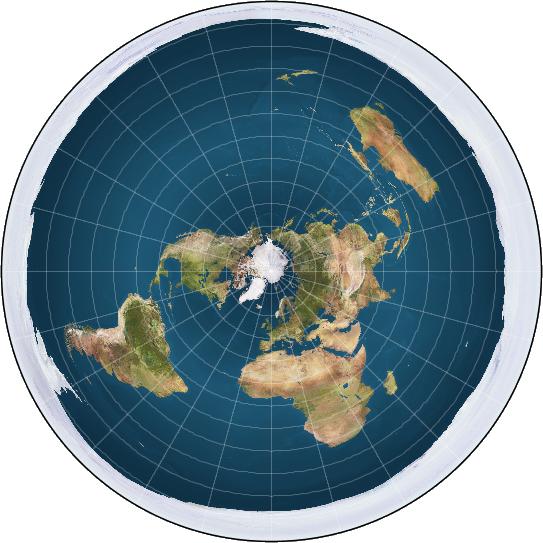 Zdjęcie przedstawia okrągłą mapę Ziemi z biegunek północnym w centrum