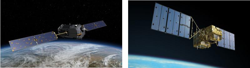 Dwa zdjęcia satelitów