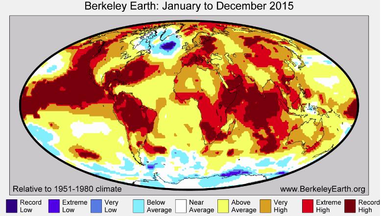 Mapa anomalii temperatury w 2015 roku względem średniej z lat 1951-1980. Dane Berkeley Earth.