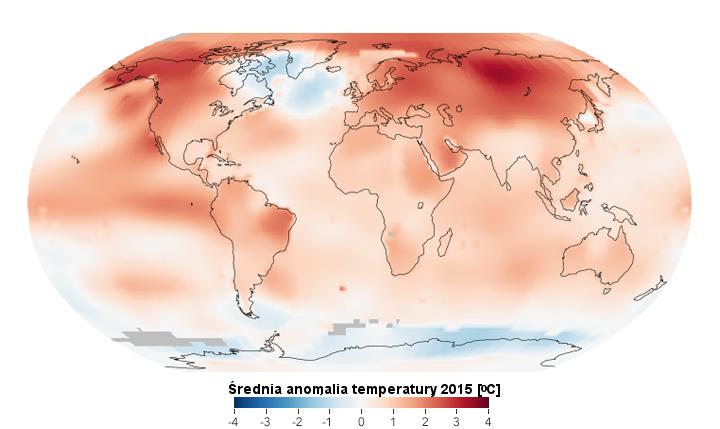 Mapa anomalii temperatury na świecie w 2015 roku