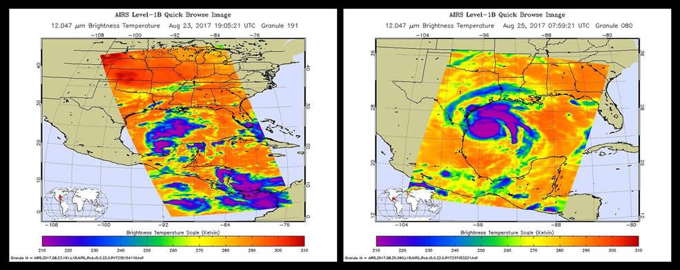 Rysunek przedstawia dwie kolorowe mapki Ameryki Środkowej, na lewej widać nieregularne plamy, na prawej - wyraźną spiralę.