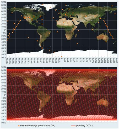 Dwie mapy świata, na gónej pojedyncze kropki, na dolnej - regularne, gęsto położone, rónoległe prążki