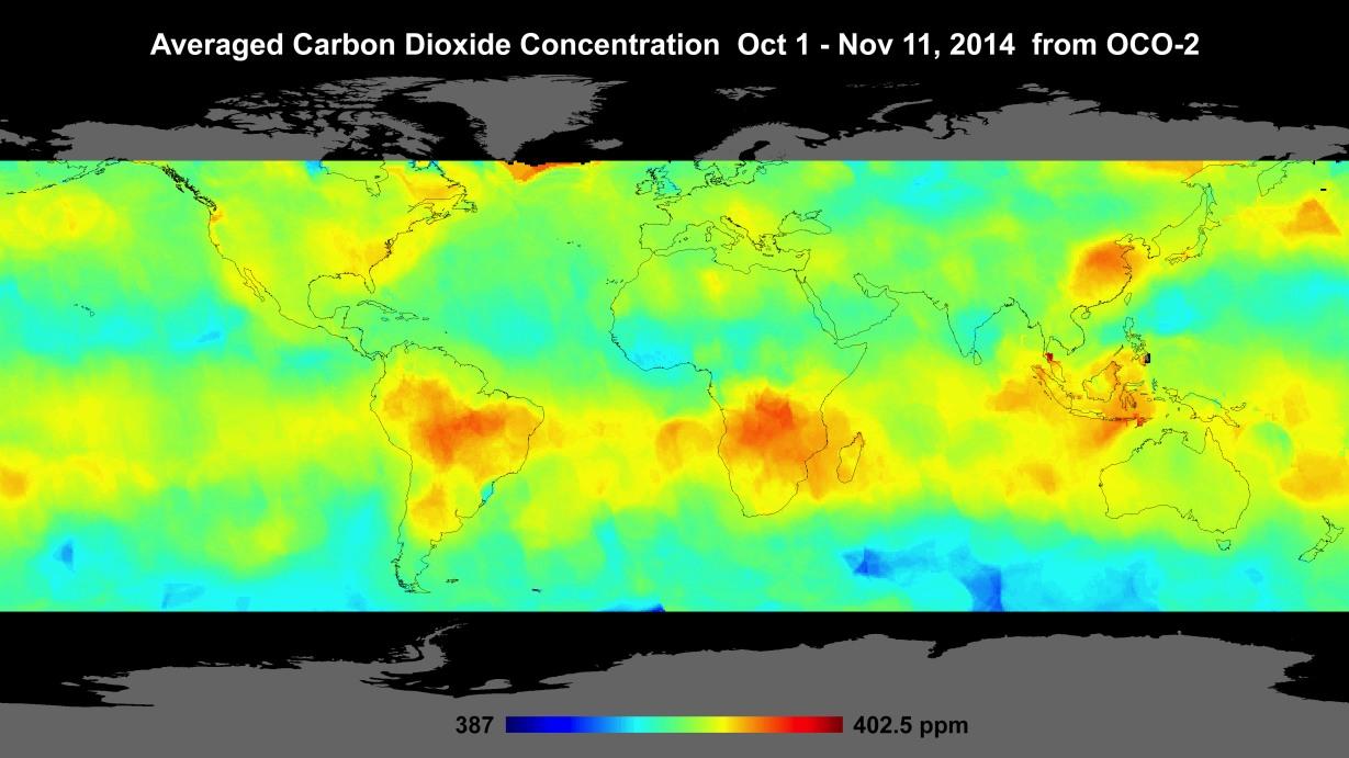 mapa z wynikami pomiarów CO2