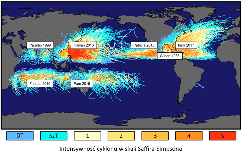 Mapa świata z zaznaczonymi na dużych akwenach trasami huraganów, tworzoącymi jakby zwitki kłaków