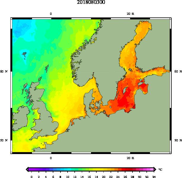Temperatura Bałtyku - mapa