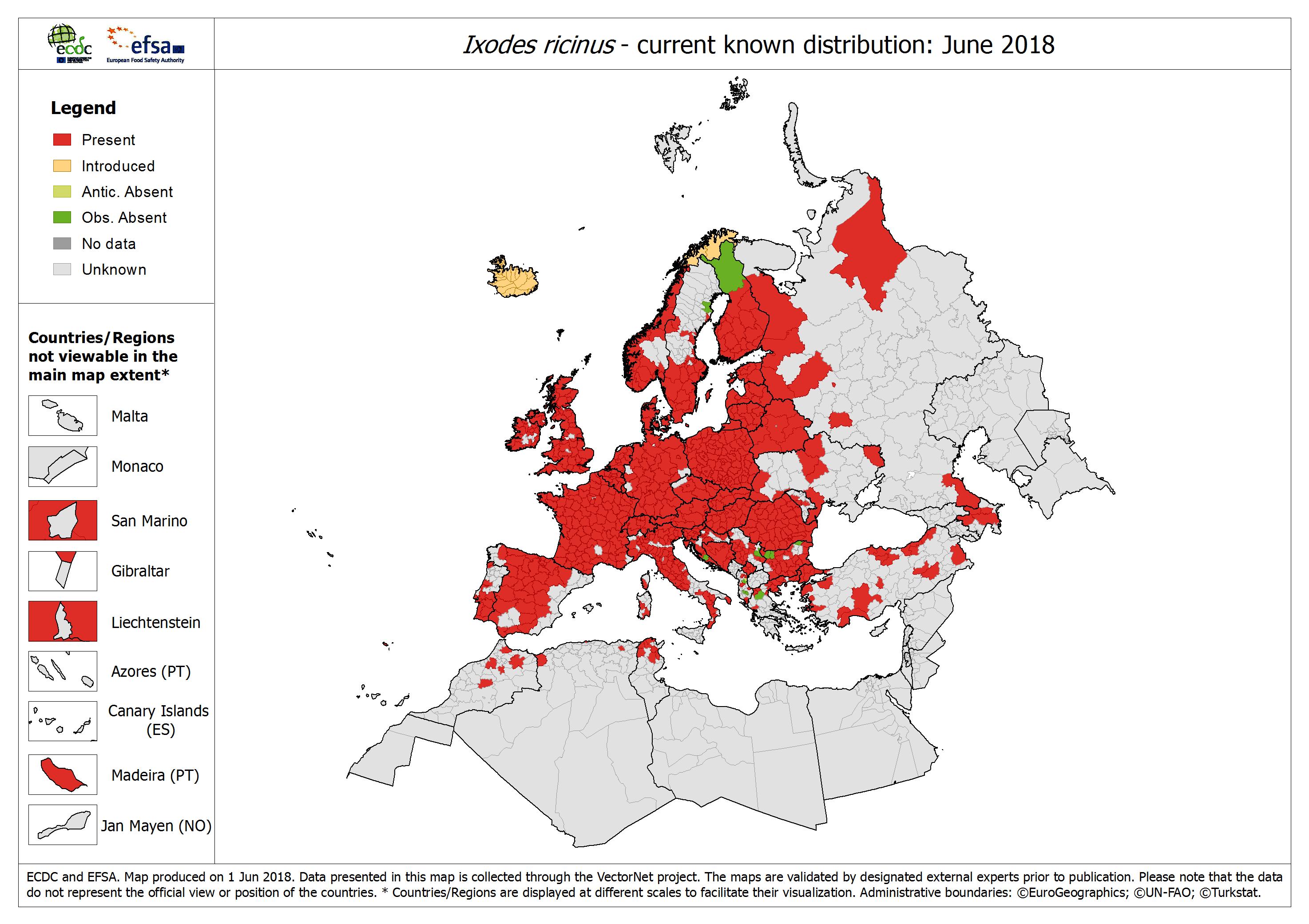 Mapa - zasięg występowania kleszczy pospolitych w Europie