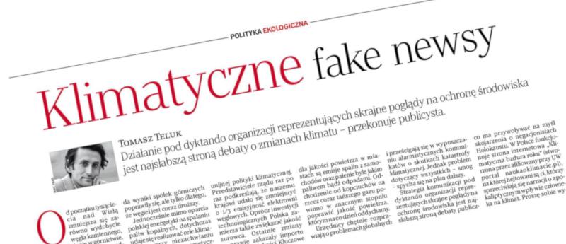 Fragment gazety z felietonem i Tomasza Teluka
