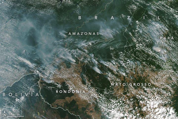 Zdjęcie satelitarne: Amazonia z dymami z pożarów.