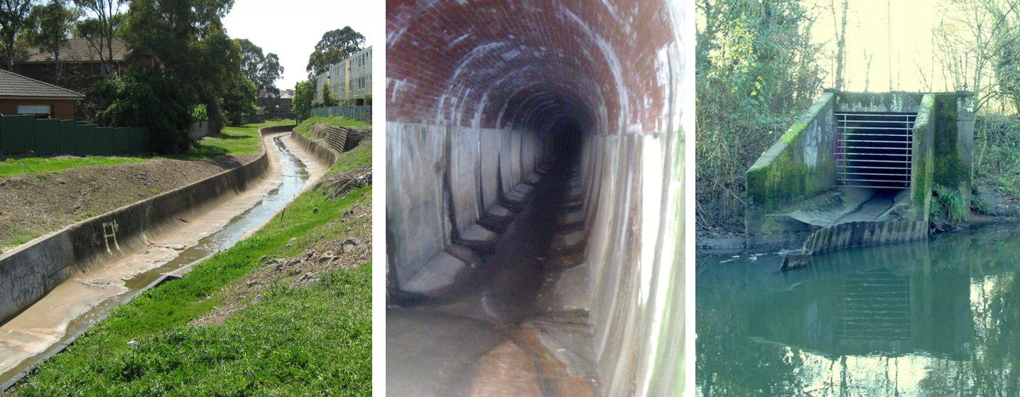 Kanalizacja burzowa, trzy zdjęcia: wąski kanał na powierzchni, kanał podziemny, wlot kanału.