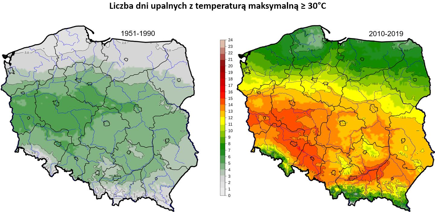 Mapa liczba dni upalnych w Polsce, najwięsze wartości w częsci środkowo-zachodniej.