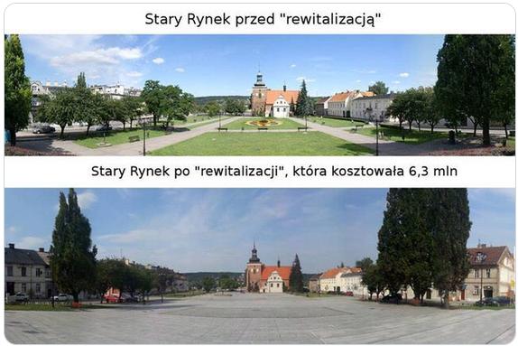 Dwa zdjęcia rynku w niewielkim mieście, na górnym widać trawniki, na dolnym przestrzeń jest wyłożona kostką betonową.