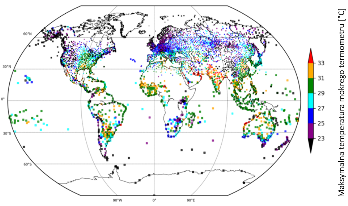 Mspa: maksymalne temperatury mokrego termometru zmierzone w okresie 1979–2017