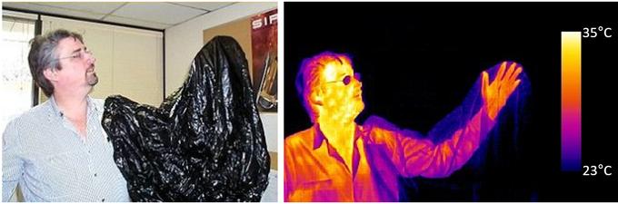 Ta sama scena sfotografowana w świetle widzialnym i podczerwonym. W świetle widzialnym widzimy człowieka z czarnym workiem na ręku, w podczerwieni worek znika  widzimy rękę