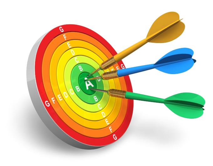 Grafika ilustracyjna: tarcza z symbolami efektywności elektrycznej urządzeń, rzutki trafiające blisko środka.