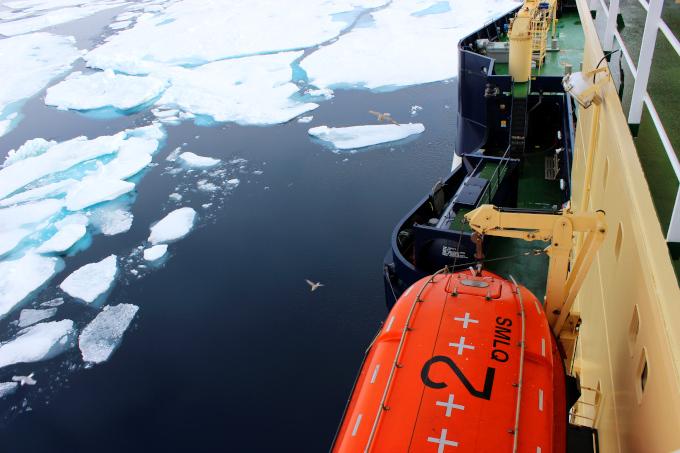 Zdjęcie: widok z pokładu lodołamacza podczas ekspedycji arktycznej. Po prawej burta statku, po lewej ciemny ocean częściowo pokryty płatami jasnego lodu.