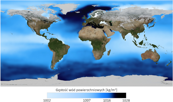 Mapa: średnia gęstość wód powierzchniowych. Największa gęstość występuje u wybrzeży Antarktydy oraz pomiędzy Grenlandią, Islandią i Skandynawią.