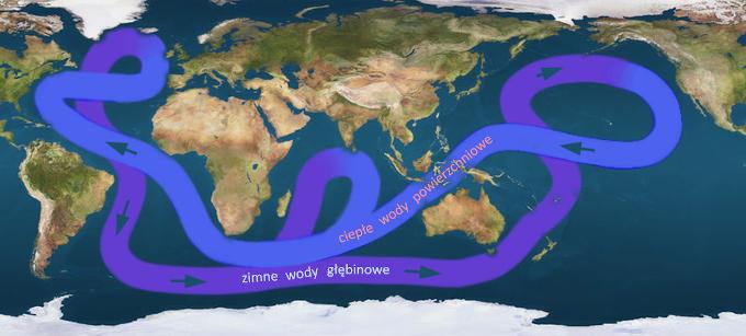 Schemat globalnej oceanicznej cyrkulacji termohalinowej