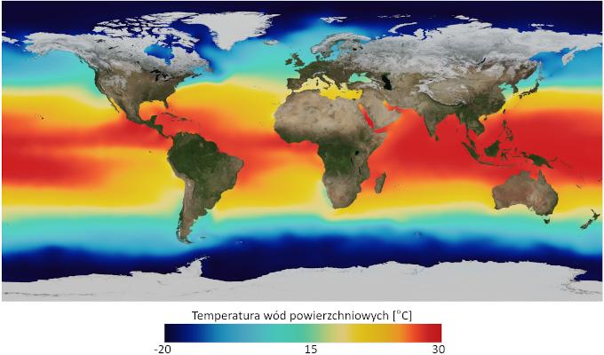 Mapa: średnioroczna temperatura powierzchni morza. Im bliżej biegunów, tym niższe temperatury.