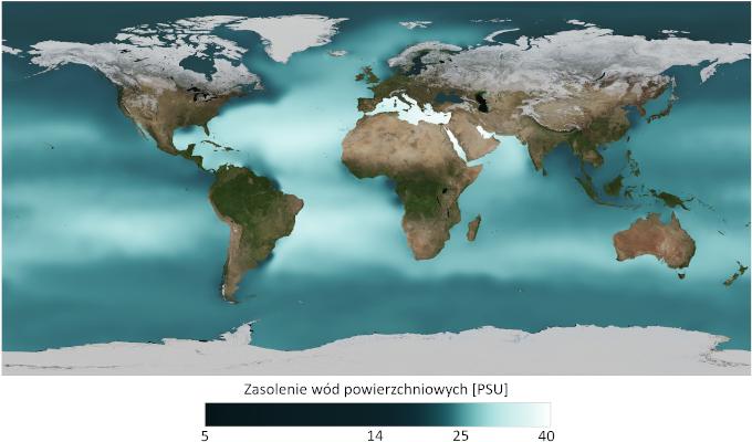 Mapa: średnie zasolenie powierzchni morza. Widać strefy podwyższonego zasolenia w okolicach zwrotników.