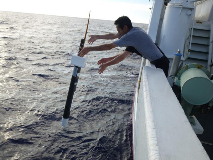 Zdjęcie: boja Argo umieszczana w oceanie. Człowiek wychyla się za burtę statku, wyrzucając sondę w kształcie cienkiego cylindra o długości ponad metr.