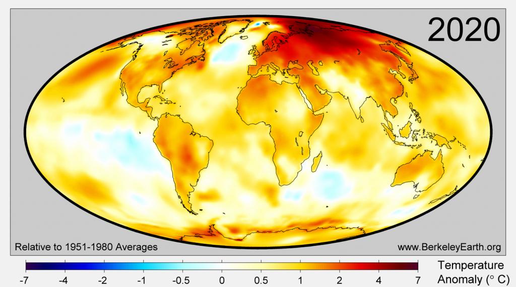 Mapa: rozkład anomalii temperatury powierzchni Ziemi