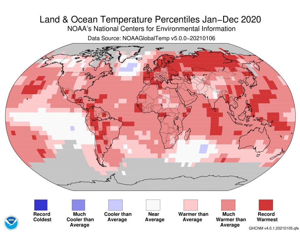 Mapa: odchylenia temperatur w 2020 od średniej.