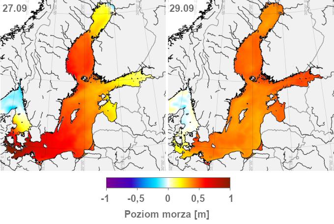 Mapy: poziom morza w Bałtyku 27 i 29.09.2020. W ciągu tych 48h w Zatokach Botnickiej i Fińskiej zaznaczył się wzrost, a na południu Bałtyku – spadek poziomu morza o kilkadziesiąt centymetrów