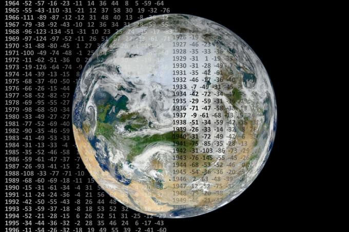 Ilustracja: kompozycja obejmująca obraz kuli ziemskiej i drobne rzędy cyfr anomalii temperatury w kolejnych miesiącach