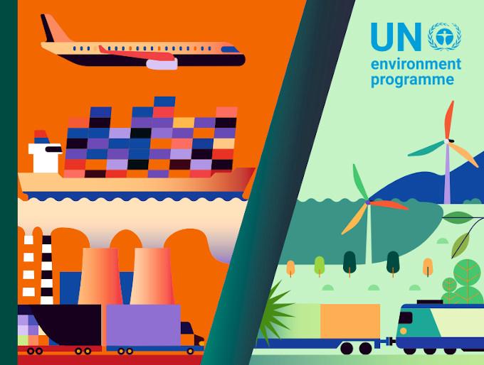 missions Gap 2020 – grafika podzielona ukośną linią, po lewej w ciepłych kolorach narysowano fabryki, samochody, statek kontenerowiec, po prawej w kolorach chłodnych pociąg, drzewa, wiatraki.