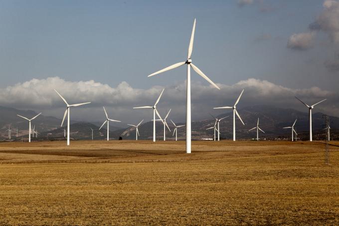 Zdjęcie: elektrownia wiatrowa. Kolejne rzędy wiatraków na polu, w tle góry i chmury.