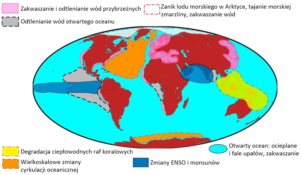 apa świata z zaznaczonymi obszarami narażonymi na przekroczenie oceanicznych punktów krytycznych