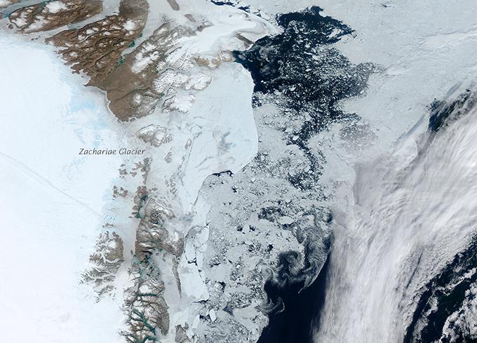 Zdjęcie satelitarne: lód spływający z Arktyki wzdłuż wybrzeża Grenlandii.]