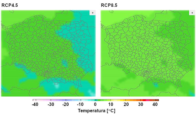 Mapy: projekcje średniej temperatury zimą w Polsce. W scenariuszu RCP4.5 – temperatury między -5 i 5 stopni, w RCP8.5 – w całej Polsce powyżej zera.