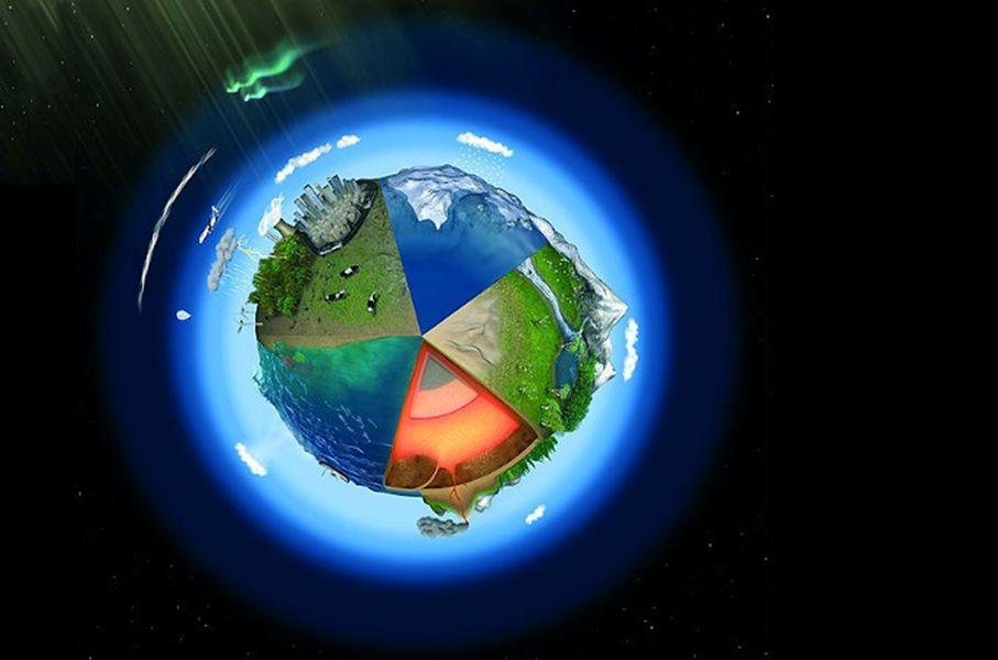 Grafika: symboliczne ujęcie kuli ziemskiej w postaci otoczonej gazami kuli podzielonej na pięć części z charakterystycznymi elementami krajobrazu: oceanem, lądem z lasem i górami, lądolodem, terenem przekształconym przez człowieka, przekrojem skorupy