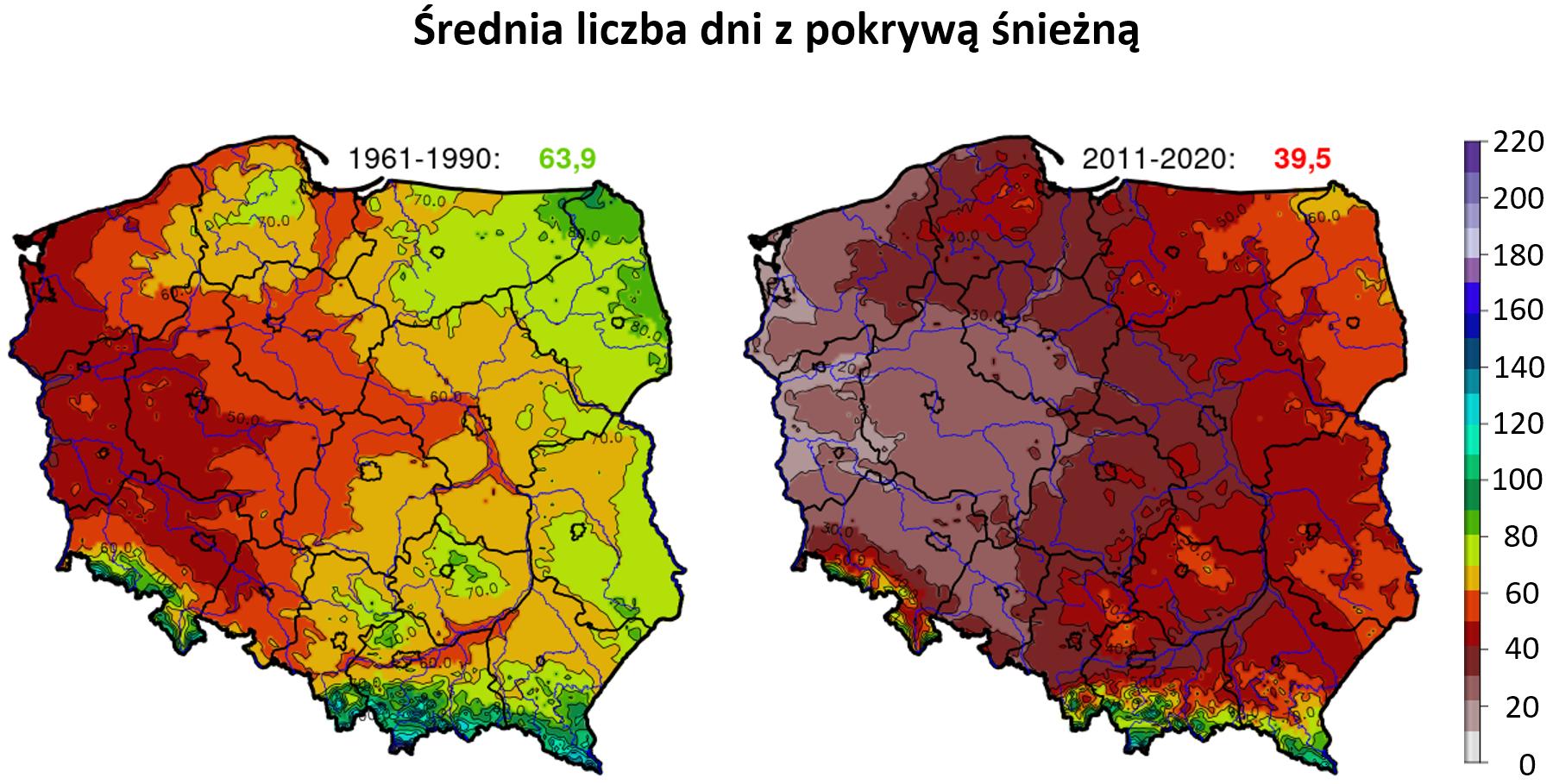 Mapy: średnia liczba dni z pokrywą śnieżną  w Polsce w okresie 1961-1990 i 2011-2020